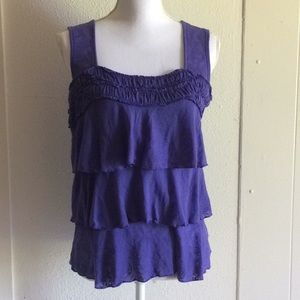 AB Studio Purple Ruffle Flowy Tank Top